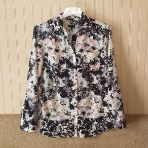 Talbots blouse size 10 pink black white sheer